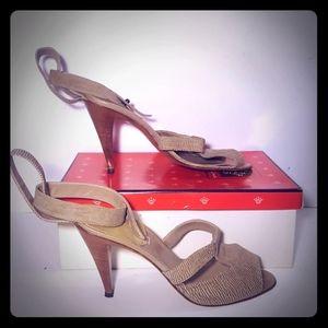 Tan Italian Nina peep toe heels size 9